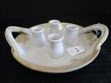 4 Arm Stoneware Glazed Candlestick Holder Table Décor