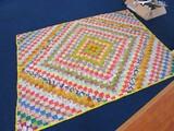 Vintage Block/Diamond Pattern Patchwork Quilt Yellow Trim