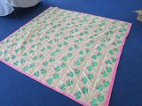 Vintage Rosebud Pattern Quilt Pink Band Trim