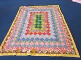 Vintage Rectangle Diamond Pattern Patchwork Quilt Yellow Trim