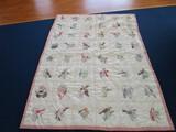State Bird Pattern Quilt Vintage Pink Band Trim