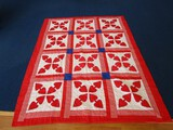 Red Spode Pattern Quilt White Block w/ White Band/Blue Block Trim