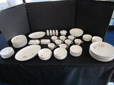 Lot - Franciscan White Stoneware Ceramics w/ Rose Pattern Motif
