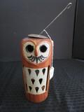 Tall Ceramic Brown Owl Design Hanging Votive Candle Holder