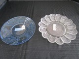 Blue Glass Centerpiece Plate Fruit/Foliage Design, Clear Glass Bead Pattern Egg Plate