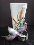 Hall U.S.A. 96 Swan w/ Corn Motif Tall Vase Ceramic