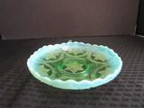 Green-To-Milk Glass Raised Dish Bead Star Pattern Motif Scallop Rim