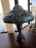 Tall Brown Metal Lamp w/ Tiffany-Style Slag Glass Shade, Shade Blue Peacock Pattern