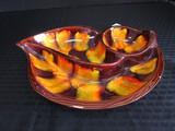 Bird Design Autumn Wood Motif 3 Part Chip/Relish Dish
