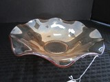 Amber Glass Fruit Bowl w/ Wave Rim, Cut Floral Pattern, Star-Cut Base