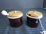 Pair - Glazed Stoneware Honey Pots w/ Wood Lids, 1 w/ Honey Spool