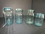 4 Blue Vintage Glass Canning Jars Atlas No.5 w/ Lid 7 1/4