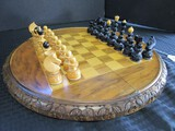Hand Carved Folding Wooden Chessboard Round w/ Carved Wooden Playing Pieces