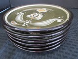 Burkal Houndes Exit Tosha 6 Ceramic Plates w/ Green/White Design Floral Motif