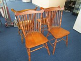 4 Wooden Dining Chairs Slat Back, Curved Seat w/ Spindle Legs