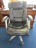Black Upholstered Desk Chair Metal Pedestal-To-Casters Legs