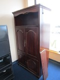 Wooden TV Cabinet 4 Hutch Doors Block Molding, Wave Scallop Trim, Brass Pulls