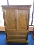 Stanley Furniture Co. Pine Wooden Cabinet 2 Hutch Doors, 2 Drawers, Brass Pulls, 1 Inlay Drawer