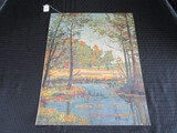 Forest/Lake Scene Print on Canvas Artist Signed R. Tulinnts