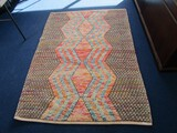 Large Colorful Diamond Pattern Floor Rug Made in India 80% Wool 20% Cotton 5' x 7'