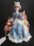 Avon Presidents Club Porcelain/Ceramic Figurine Blue Dress 1992 'Mrs. P.F.E. Albee' Award