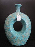 Wide Body w/ Narrow Top Vase, Open Center, Blue w/ Curled/Floral Pattern