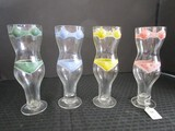 4 Tall Glasses Colored Bikini Design Hand Painted Red, Yellow, Blue, Green