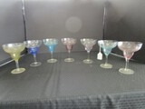 7 Colored Glass Champaign Saucers 6 1/2