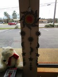 Wall Mounted Wind Chime/Décor Sun/Moon Motif w/ Belts, Glass Sun/Moon Center