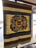 Large Native American Design Wall Hanging Fabric Tapestry, Wood Pole Top