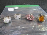 4 Rings, 1 18KGE Twist Design Size 8 1/4, Pink Motif Size 8 1/2, Amber Stone 925 Ring Size 8 1/4