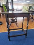 Wooden Vintage Side Table w/ Twist-To-Block Legs w/ Stretchers