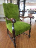 Green Upholstered Arm Chair, Wooden Curved Arms, Spindle-Block Front Legs/Stretchers