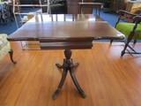 Folding Top Wooden Vintage Table w/ Grooved Urn Design Pedestal Body