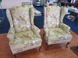 Ornate Bird of Paradise/Blue Floral Upholstered Arm Chairs, Curved Wooden Front Legs