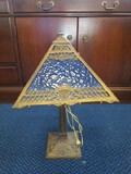 Metal Ornate Body Lamp w/ Blue Crinkle Glass Shade