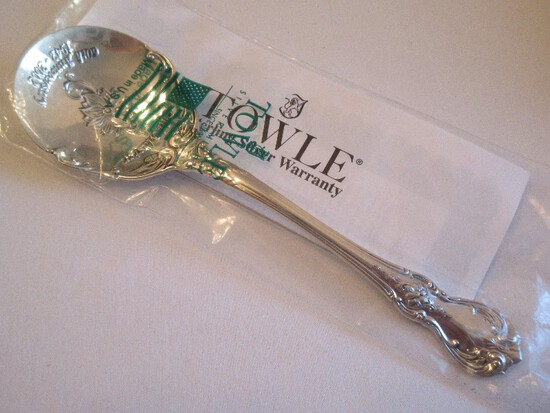 "Towle Silver ""Old Master"" Pattern 60th Anniversary Embossed Bowl Sugar Spoon"