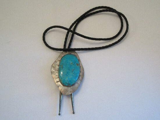 "Southwestern ""Wedg-Tite"" Sterling & Turqouise Gemstone Bolo Tie"