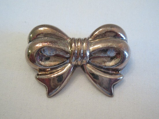 Stamped 925 Ribbon Bow Brooch