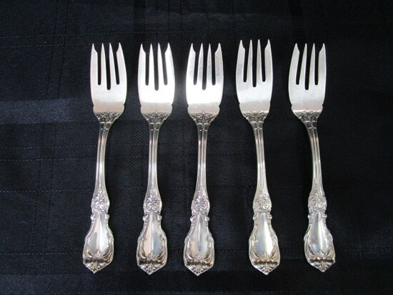 5 Salad Forks Burgundy Pattern Sterling Reed & Barton