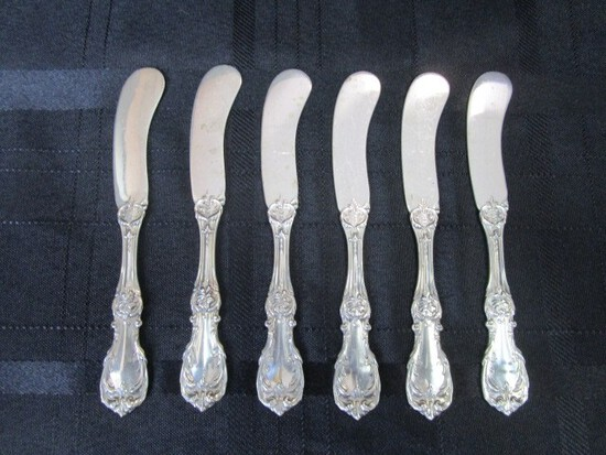 6 Butter Knives Burgundy Pattern Sterling Reed & Barton