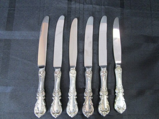 6 Knives Burgundy Pattern Sterling Reed & Barton