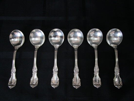 6 Soup Spoons Burgundy Pattern Sterling Reed & Barton