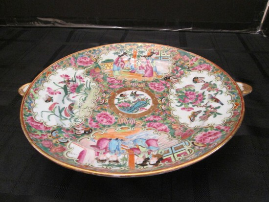Tall Asian Scene Motif/Rose Pattern Hand Painted Twin Spouted Plate/Bowl