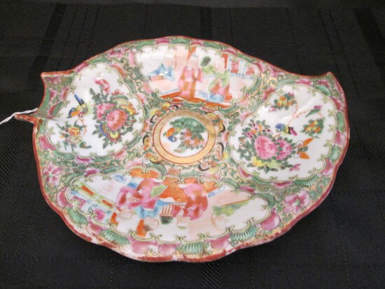 Tall Asian Scene Motif/Rose Pattern Hand Painted Leaf Design Flatware Dish