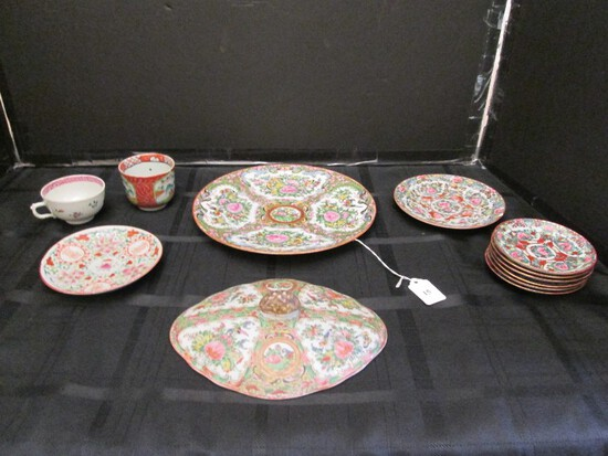 "Lot - Misc. Asian Motif/Rose Pattern Saucers, Plate 10"" D, Cup on Wood Stand, Lid, Etc."