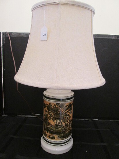 Ceramic Lamp w/ Cornucopia/Vase/Bird Scene Motif White Shade