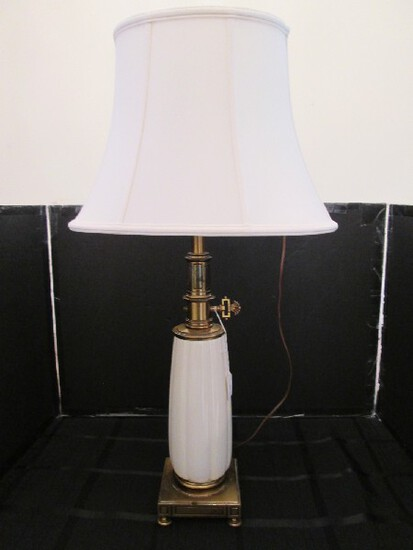 Ceramic/Brass Grecian Pattern Tall Lamp, Cream Scallop Body w/ Brass Base/Neck