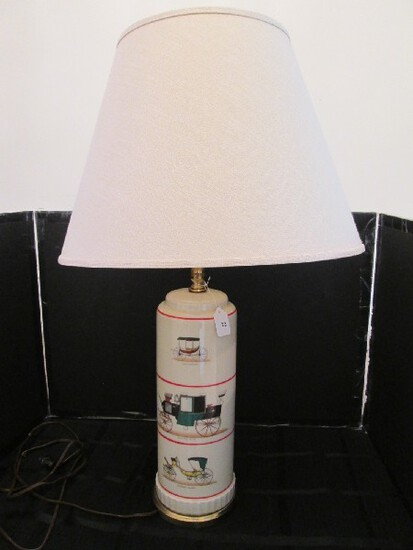 Tall Ceramic Body Lamp w/ Vintage Carriage Motif Spindle Brass Neck