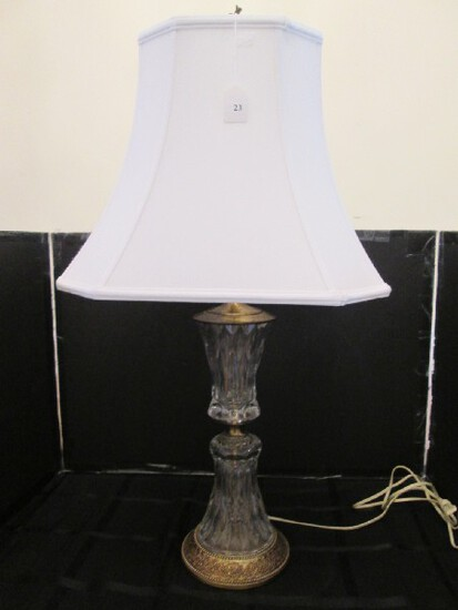 Tall Clear Cut Glass Lamp w/ Ornate Brass Base/Middle, Cream Shade